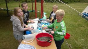 There's lots of washing up when there are 33 cubs camping!